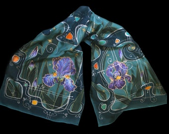 Irises, luxury painted scarf from pure silk , teal, high fashion, painted scarf, elven Art, elven garden, orris, flags, beautiful flowers