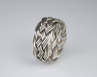 Hand-tied tripled straight silver wire Turks Head Knot ring