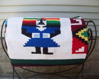 Vintage Mexican Blanket / Ethnic Wall Hanging / Throw Rug