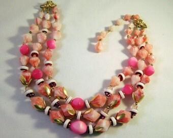 Mad Men Vintage De Ville Necklace Triple Strand Pink