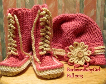 Buggs -  Crochet Toddler Lace Up Boots and Newsboy Hat w/ Detachable Flower Headband in Lippy Pink (limited stock) and Cream
