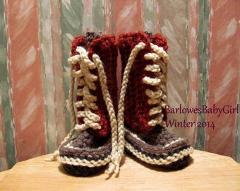 Buggs -   Crochet Lace Up Baby Booties in Brick Red, Heather Brown, Cream, and Dk.Charcoal