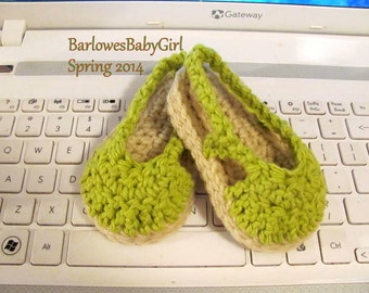 NEW - Buggs - Crochet Sling Back Baby Espadrille Shoes in Lime Green Cotton