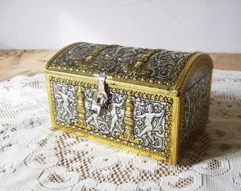 French Locking Tin box Chest shaped Embossed cherubs WITH KEY & PADLOCK