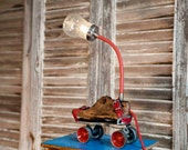 Table lamp, Steampunk lighting, Upcycled lamp, Mason jar light, Industrial lighting, Roller Skates lamp, Wooden shoemakers last lamp