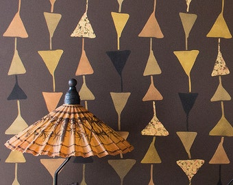 Geometric Large Triangle Wallpaper Wall Stencils - Modern Tribal Designs Painted on Accent Wall