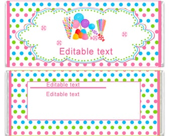 INSTANT DOWNLOAD Sweet Shop Editable Candy Bar Wrappers Labels Stickers - Birthday Party Favors Baby Shower Favors Birthday Favors