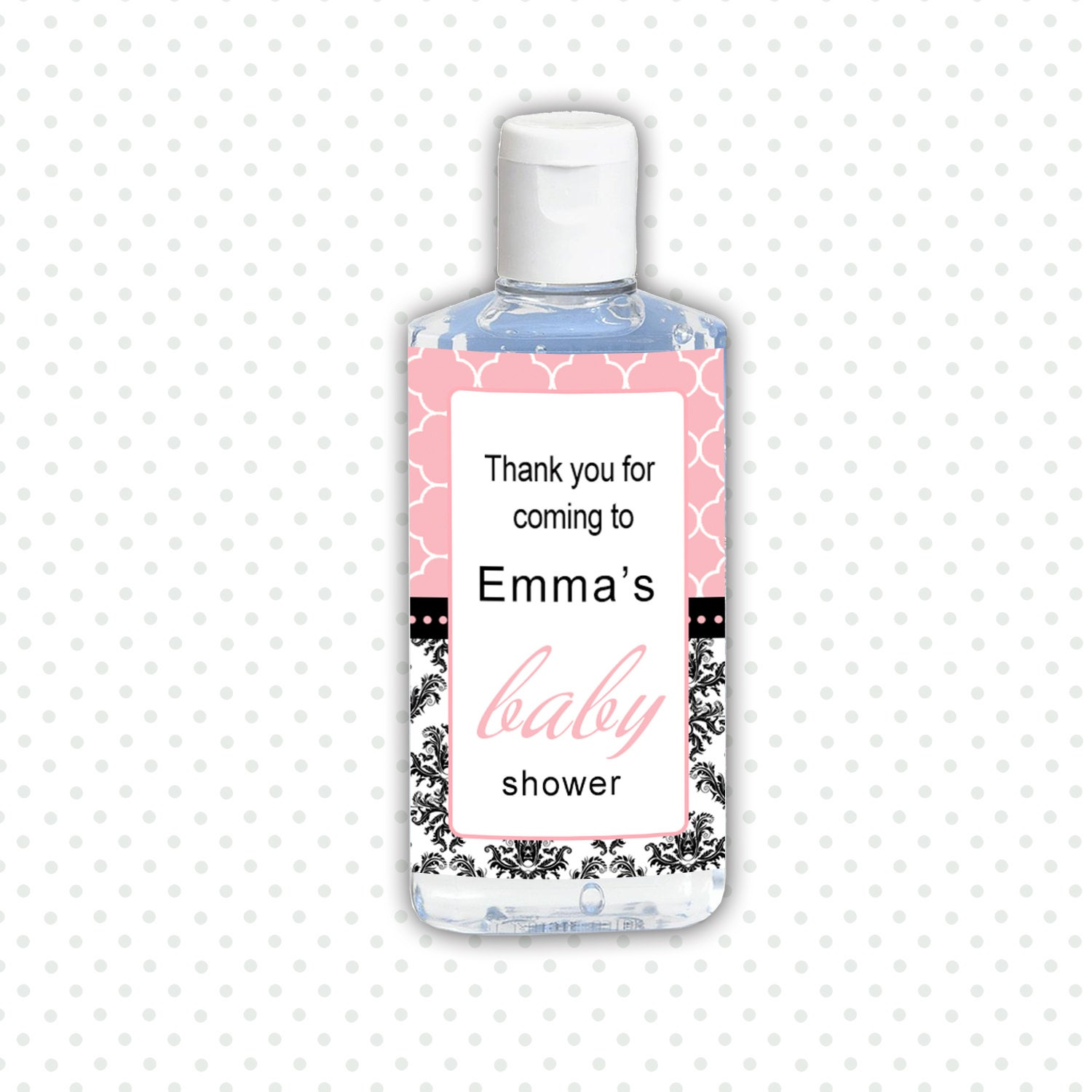 Personalized Printable Damask Baby Shower Hand Sanitizer
