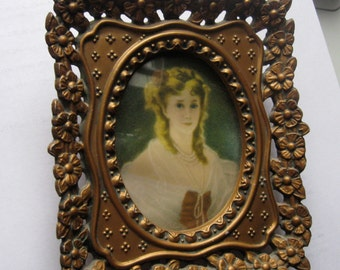 Vintage Ornate Gold Framed Portrait Cameo Creation Duchess de Montessque