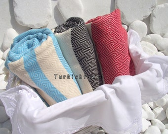 Turkishtowel-2014 Spring Collection-Set of 3-Hand woven,Diamond Turkish Bath,Beach Towel-Aqua,Black,Red,natural cream