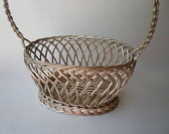 Vintage Sweet Woven Silver Basket