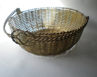 Vintage Large Woven Brass Accent Basket