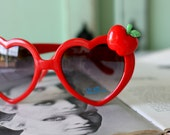 RED HEART APPLE Sunglasses...handmade. retro. colorful shades. hipster. kitsch. shades. summer. apple. fruit. party. red heart. twiggy. mod
