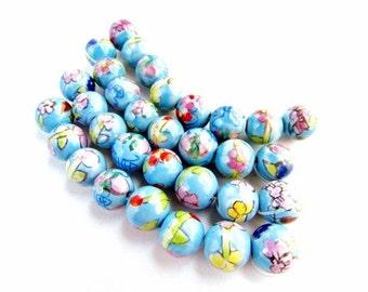 32 Hand Painted Ceramic Beads
