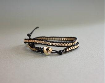 Fine leather strap with 18k gold chain bracelet(BLACK)