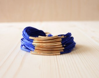 Silky Strap Bracelet with 18K Gold Plated Tube(BLUE)