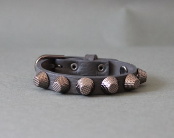 Soft Cowhide Bracelet with Giant Black Stud(Grey)