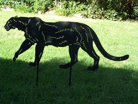 Puma cougar big cat metal garden yard art stake silhouette for Cat yard art
