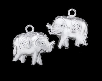 2 of 925 Sterling Silver Elephant Charms 12 x 14 mm. :th1054