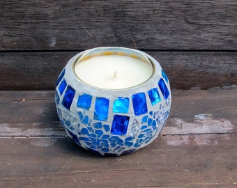 Candle - Monkey Farts Scented Candle - Soy Candle - Blue Mosaic Jar - Vegan - Natural