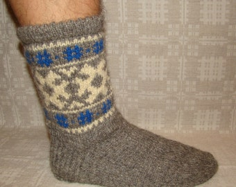 Socks- hand knitted from naturally gray wool . Size: EU 44,5- 45 , US 11- 11,5