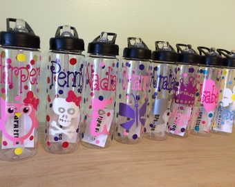 Quantity 9 Personalized Clear plastic sport water bottle, Flip top sip w/ straw, 24 oz size, polka dots, sports or custom design