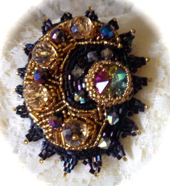 Bead embroidered brooch crystals rivoli black and gold