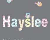 Decal Vinyl Wall Decal Sticker name with patterns owl birds