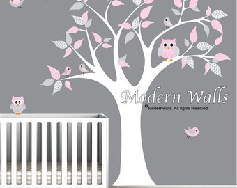 Vinyl Wall Art Decal-Owls Birds-nursery wall decals kids wall stickers