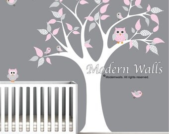 Vinyl Wall Art Decal-Owls Birds-nursery wall decals kids wall stickers-e86