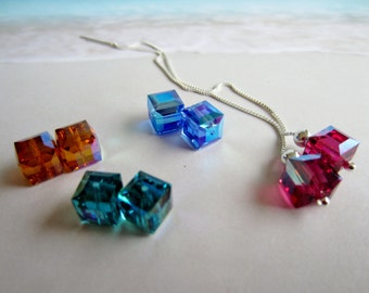 Emphatic Ear Threads-Large Crystals-Long Chains-Sterling Silver-Swarovski Cubes-Color Choice