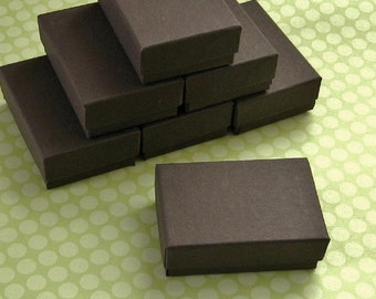 10 Recycled Matte Chocolate Brown Cotton Filled Jewelry Boxes 2.5 x 1.75 x 15/16 inch - Small