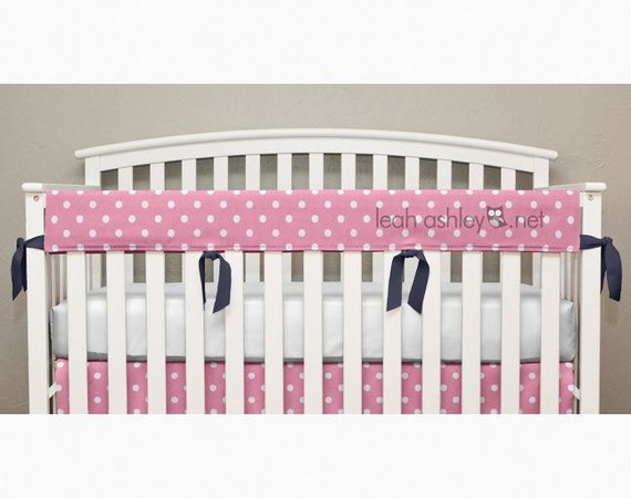 Teething Crib Rail Cover Protector Pink Polka By Leahashleyokc