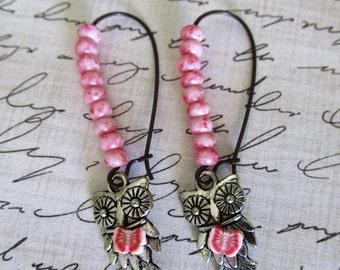 Industrial Pink Owl with a butterfly  Earrings, Bird of Prey long dangle Earrings, Gift For Mom, Steampunk, Owl
