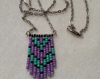 Purple, turquoise and black chevron seed bead pendant necklace with silver chain. FREE SHIPPING.