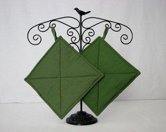 Potholders - Olive green Stipple - cotton