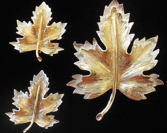 "Vintage Sarah Coventry Brooch and Earrings Demi Parure 1960s Signed ""Natures Choice"" 6933 Clip Ons Maple Leaf"