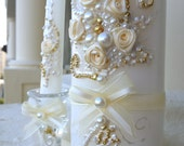 Wedding unity candle set, hand decorated with ivory ribbon roses & bows and pearls, with a hint of gold, Unity ceremony set