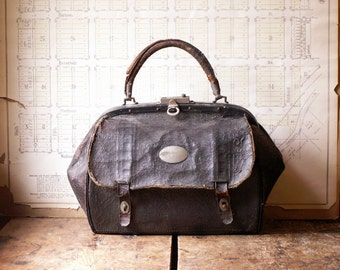 Vintage Black Leather Doctors Bag with Paisley Embossed Leather - Great Halloween Decoration!