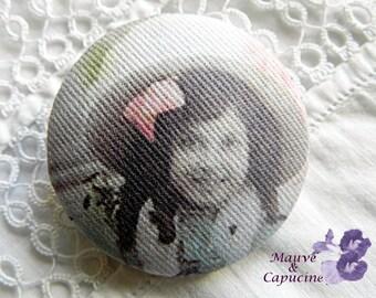 Fabric button,  retro girl, 1.57 in / 40 mm