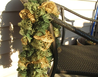 Scarf Ruffled Shades of Green with Brown Lace Yarn Hand Knitted Soft Acrylic Scarf 64 inches long