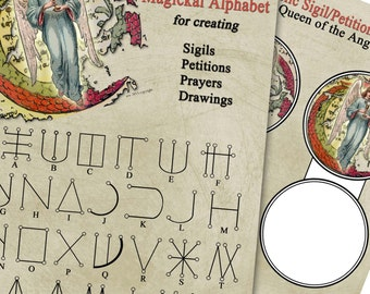 Angel Alphabet and Petition Prayer Sigil - BOS Pages - Queen of Angels - Two Pages - Digital Collage Instant Download