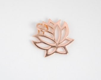 1 pc: big rose gold lotus charm pendant, 19x19mm, Yoga, Zen, flower, 18K rose gold plated over sterling silver, 2-sided bright finish