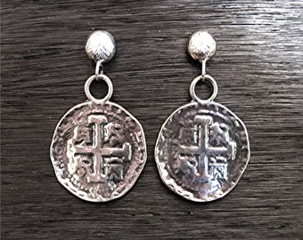 Spanish Coin Earrings in Sterling Silver (E1a)