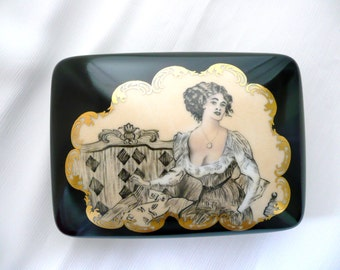 hand painted Limoges, card box, jewelry box, trinket box, Limoges card box, black painted box, porcelain box