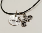 """Aluminum and Leather """"iRace"""" necklace with BMX Bike Charm - UNRACE01"""
