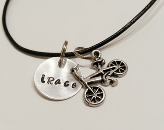 "Aluminum and Leather ""iRace"" necklace with BMX Bike Charm - UNRACE01"