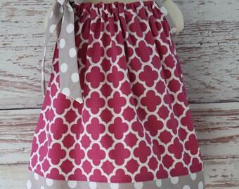 Fuschia Quatrefoil and Gray Polka Dot Pillowcase Dress