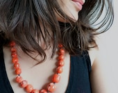 HYDRA. orange coral necklace with sterling silver and hematite.  long necklace. summer style. beach inspired.
