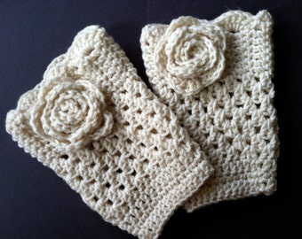 Cream Flower Boot Cuffs in any color and size